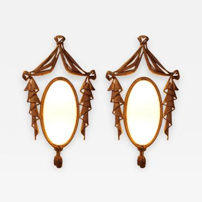 Jean BARAT Very Elegant Pair of Bronze Sconces by J Barat