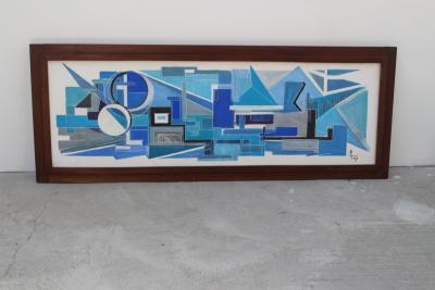 Jean Balladur 1963 Large French Painting on Plaster