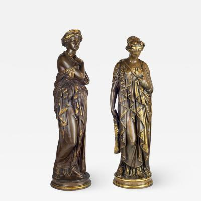 Jean Baptiste Clesinger A Fine Quality Pair of Patinated Bronze Statues by Jean Baptiste Cl singer