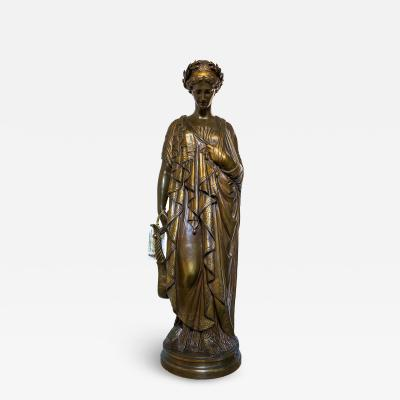 Jean Baptiste Clesinger A Fine Quality Patinated Bronze Sculpture of a Woman Holding a Lyre