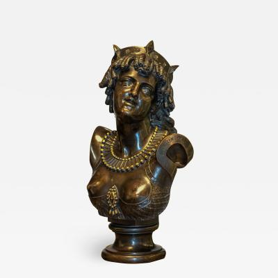 Jean Baptiste Clesinger A Finely Casted French Patinated Bronze Bust Figure Entitled Ariadne