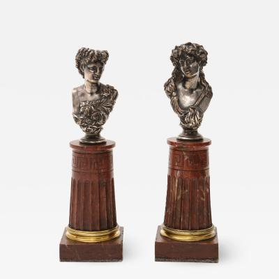 Jean Baptiste Clesinger Pair of Silvered Bronze and Rouge Marble Busts