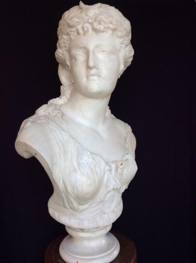 Jean Baptiste Clessinger White marble sculpture depicting Diana by Jean Baptiste Clessinger 1800 c a