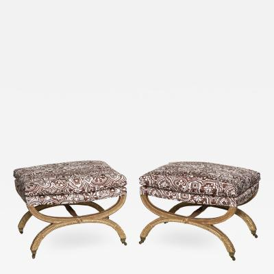 Jean Baptiste III Lelarge Important Pair of Period X Frame Stools