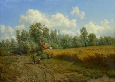 Jean Baptiste Kindermans Summer Landscape Oil Painting by Jean Baptiste Kindermans Belgian 1822 76