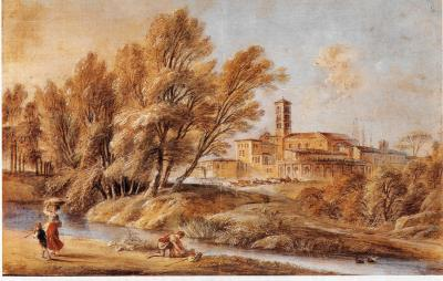 Jean Baptiste Lallemand Landscape with Figures by a Stream before a Monastery