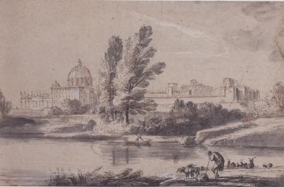 Jean Baptiste Lallemand River Landscape with Herdsmen near St Peters
