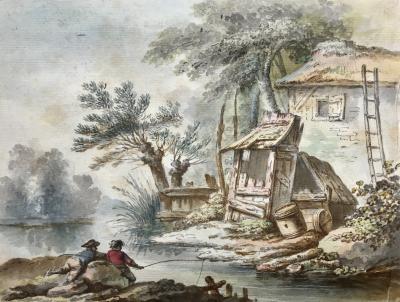 Jean Baptiste Marie Huet Young Boys Fishing