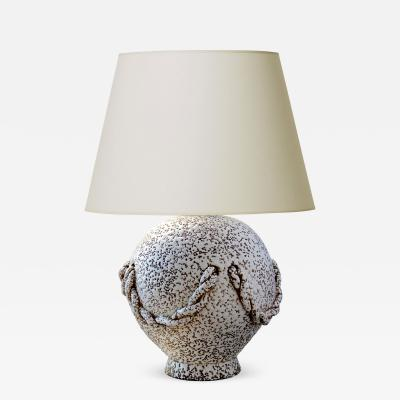 Jean Besnard Crisp Glazed Festooned Balloon Table Lamp in the Style of Jean Besnard