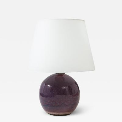 Jean Besnard Jean Besnard Ceramic Sphere Lamp Peacock Glaze Purples Cerulean Blues Green