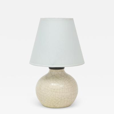 Jean Besnard Jean Besnard Crackle Ceramic Lamp Parchment Shade France c 1926 signed