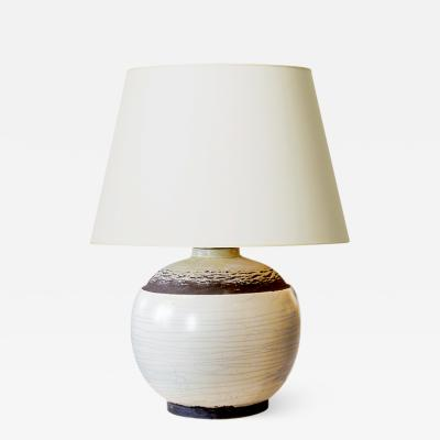 Jean Besnard Table Lamp in Ivory Pistachio and Brown glazing in the Style of Besnaerd