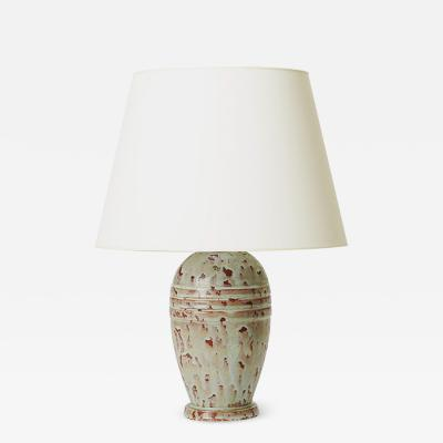 Jean Besnard Table Lamp with Rustic Texture in Blue Celadon in the Style of Besnard
