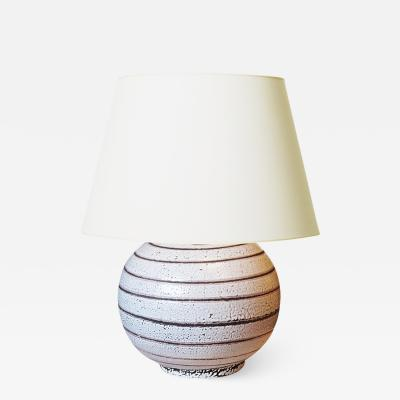 Jean Besnard Table lamp with Spiraling Sgraffito Pinstripe in the style of Jean Besnard