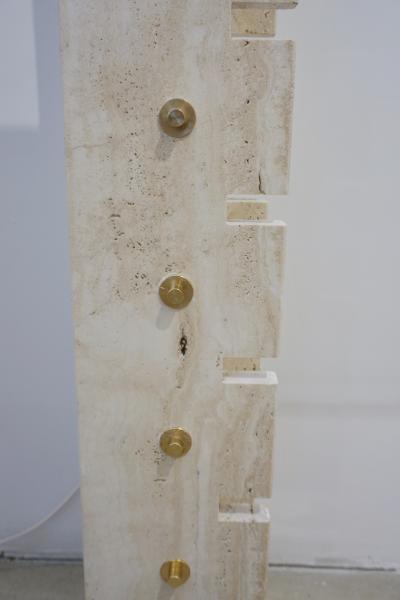 Jean Charles Jean Charles Designer 1970s French Minimalist Ivory White Travertine Console
