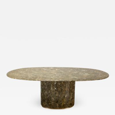 Jean Charles Jean Charles Onyx and Gold Leaf Marble and Brass Dining Table 1970s