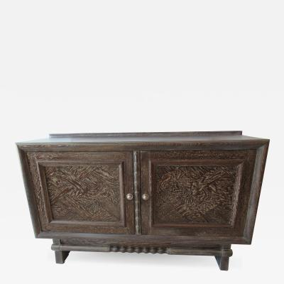Jean Charles Moreux A French Modern Cerused Oak 2 Door Credenza