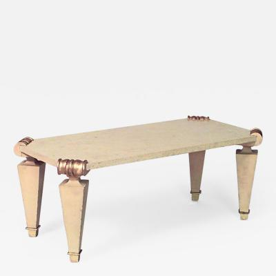 Jean Charles Moreux French 1940s Rectangular Ormolu Travertine Marble Coffee Table