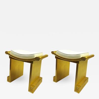 Jean Charles Moreux J C Moreau superb gold leaf carved wood pair of neo classic stools