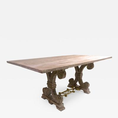 Jean Charles Moreux J C Moreux cerused superb oak folding dinning table or console