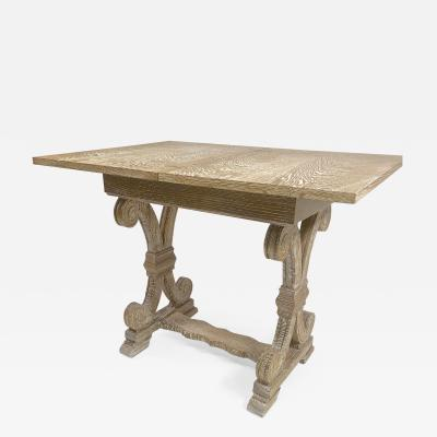 Jean Charles Moreux J C Moreux cerused superb oak folding playing card table or console