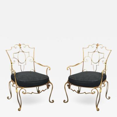 Jean Charles Moreux Jean Charles Moreux Pair of Gilt Forged Iron Armchairs