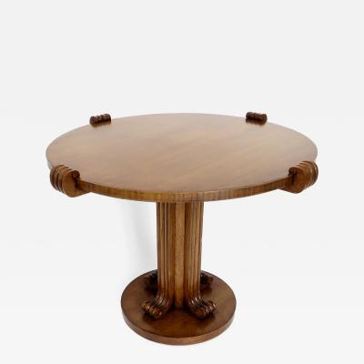 Jean Charles Moreux Jean Charles Moreux Round Table with Sculptural Base and Top in Figured Walnut