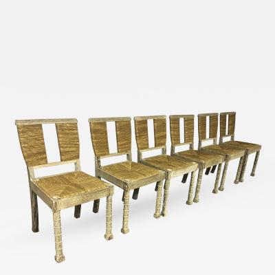 Jean Charles Moreux Jean Charles Moreux Superb Set of 6 Chairs in Coursed Oak Rush