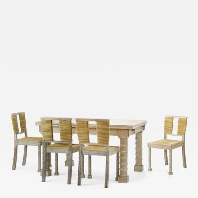 Jean Charles Moreux Jean Charles Moreux cerused oak dinning set with extendable table