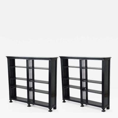 Jean Charles Moreux Jean Charles Moreux refined pair of adjustable shelves black oak library