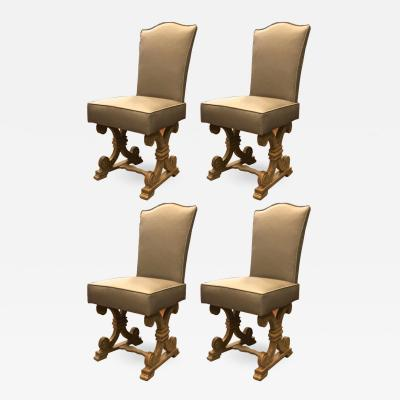 Jean Charles Moreux Jean Charles Moreux set of 4 oak cerused dinning chairs