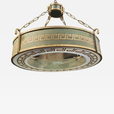 Jean Charles Moreux Jean Charles Moreux spectacular Neo classical wrought iron patinated chandelier