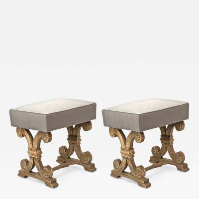 Jean Charles Moreux Jean charles moreux pair of oak carved cerused stools