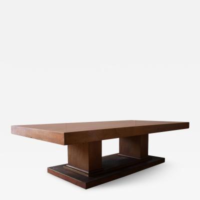 Jean Charles Moreux Large French Art Deco Walnut Pedestal Dining Table by Jean Charles Moreux