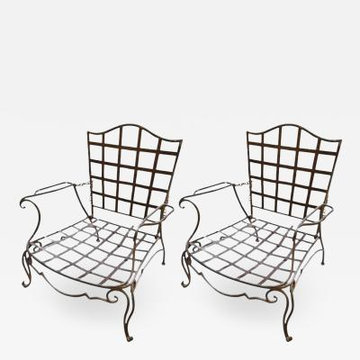 Jean Charles Moreux Pair of Classic 1940 s JC Moreux Wrought Iron Chairs
