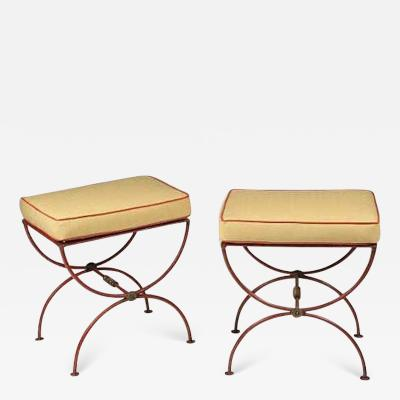 Jean Charles Moreux Pair of French 1930s Modern Neoclassical Stools by Jean Charles Moreux