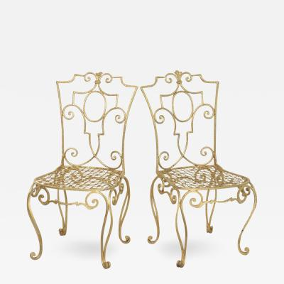 Jean Charles Moreux Pair of French Gilt Metal Chairs by Jean Charles Moreux