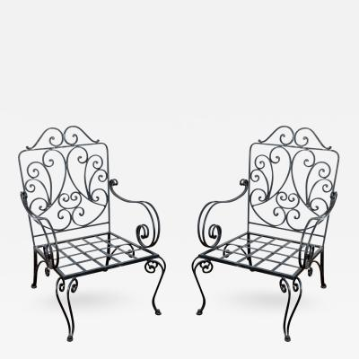 Jean Charles Moreux Pair of Iron French Armchairs in the style of J C Moreux
