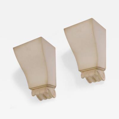 Jean Charles Moreux Pair of Plaster Sconces by Jean Charles Moreux