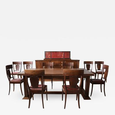 Jean Charles Moreux Rare French Art Deco Walnut Dining Room Set by Jean Charles Moreux