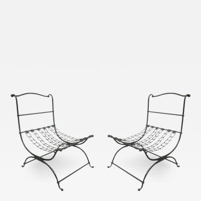 Jean Charles Moreux Rare Pair of French Hammered Iron and Chain Lounge Chairs by Jean Charles Moreux