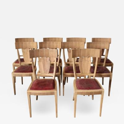 Jean Charles Moreux Rare Set of Ten French Art Deco Walnut Dining Chairs by Jean Charles Moreux