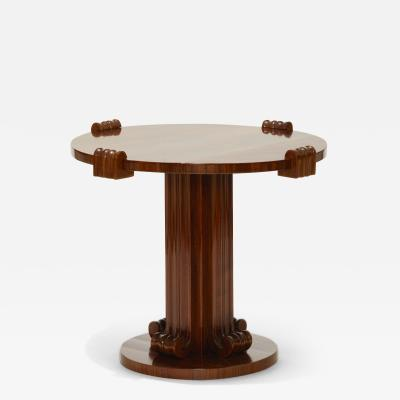 Jean Charles Moreux Sculptural Low Round Table in Figured Walnut by Jean Charles Moreux