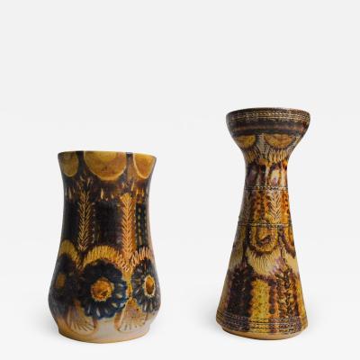 Jean Claude Courjault Jean Claude Courjault Signed Ceramic Vases in Bronzes and Blues