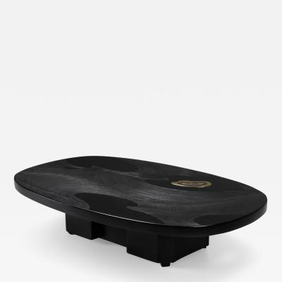 Jean Claude Dresse Metropolitan Chic Black Resin with Agate Coffee Table by Dresse 1980s