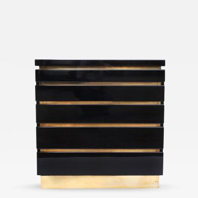 Jean Claude Mahey Back Lacquer and Brass Chest of Drawers