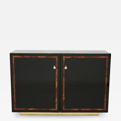 Jean Claude Mahey Black lacquer burl wood brass cabinet sideboard by J C Mahey 1970s