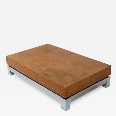 Jean Claude Mahey Burl and Chrome Coffee Table in style of Claude Mahey 1970s