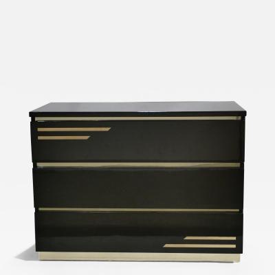Jean Claude Mahey Dark brown lacquer and brass chest of drawers by J C Mahey 1970s