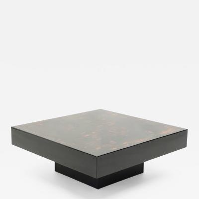 Jean Claude Mahey J C Mahey black orange lacquer and leather coffee table 1970s